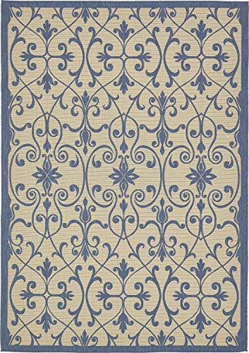 (Unique Loom Outdoor Botanical Collection Traditional Border Transitional Indoor and Outdoor Flatweave Beige /Blue  Area Rug (8' 0 x 11' 4))