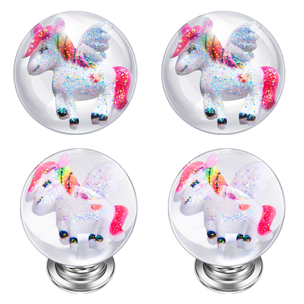 IFOLAINA Unicorn Kitchen Cabinet Knobs Kids Drawer Handles Round Pulls Cupboard Dresser Bookcase with 3 Size Screws 4 Pack