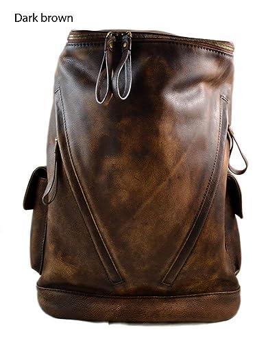 98b3c569e3 Vintage leather backpack dark brown genuine washed leather travel bag  weekender sports bag gym bag leather