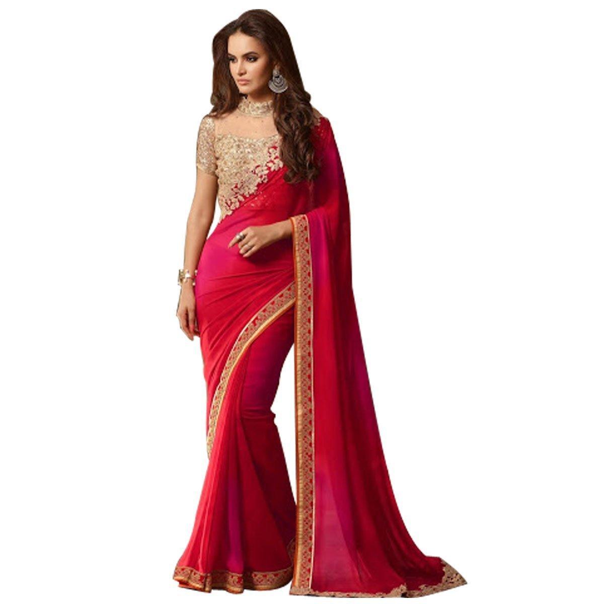 Brautkleid Hochzeitsfest tragen rote Sari Kleid indischen Frauen ...