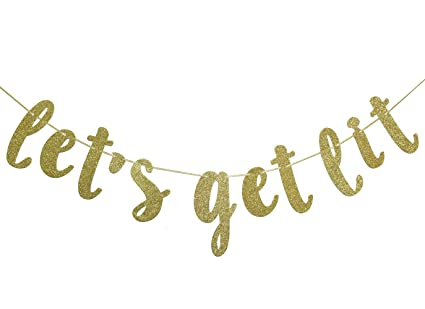 Amazon.com : Let\'s Get Lit Gold Glitter Party Banner for Wedding ...
