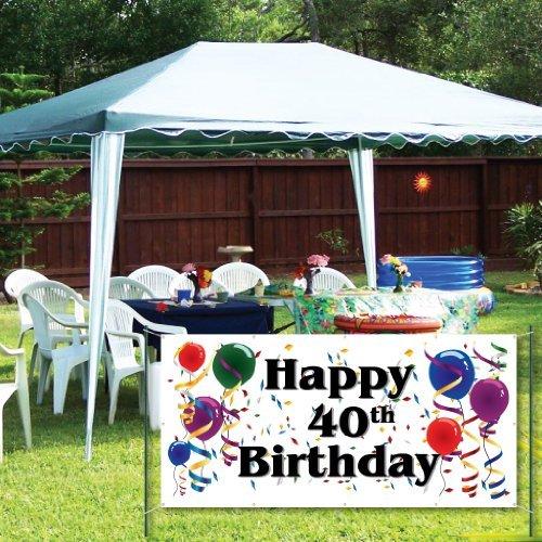 Happy 40th Birthday 2'x4' Vinyl Banner [並行輸入品]   B07NBM77SB