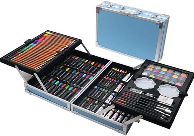 Profesional Lápices de Colores Conjunto,145 Set Pintura Doble Caja de Aluminio Pluma de Acuarela, crayón Infantil Caja de Regalo al óleo Pastel @ Azul,de los niños cumpleaños: Amazon.es: Hogar