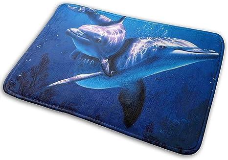 Dolphin Bath Mat Set 2 Piece Non Slip  Bathroom Rug Rubber Pedestal Mat Toilet