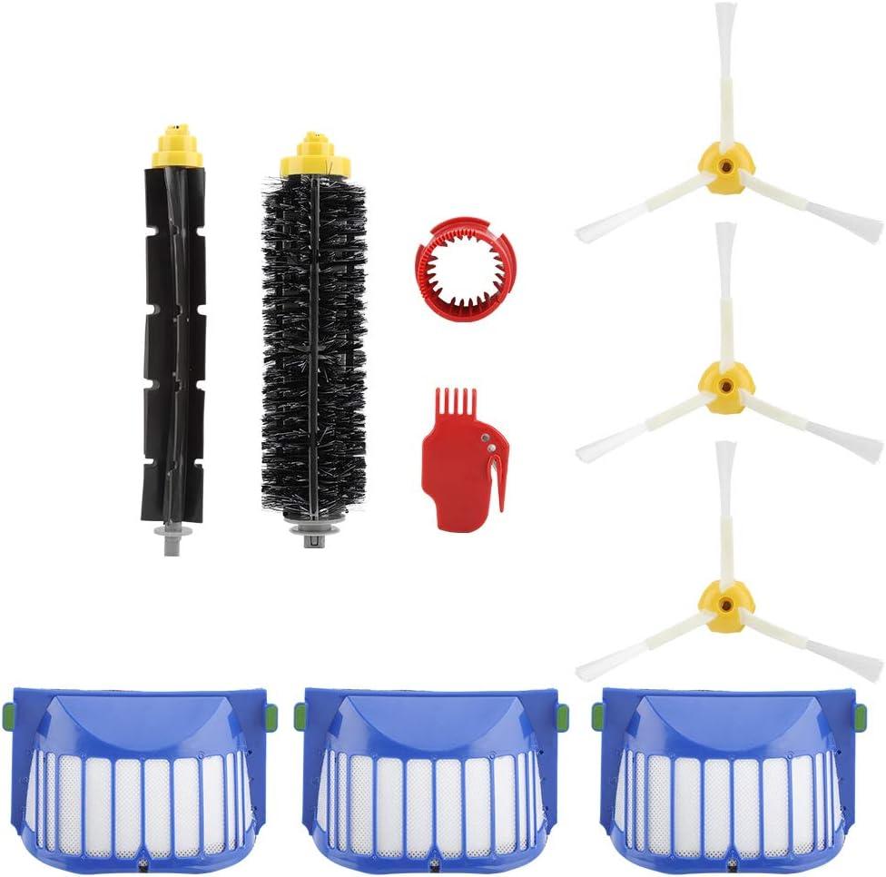 3-Armed Side Brush Bristle Brush Filter Flexible Beater Brushes Vacuum Cleaner Accessories Kit for Irobot Roomba 600 610 620 625 630 650 Series