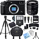Fujifilm X-Pro 2 Mirrorless X-Trans CMOS III Black Digital Camera w/ 18-55mm Zoom Lens Bundle includes Camera, Lens, 64GB SDXC Memory Card, Case, Tripod, Flash, Battery, Beach Camera Cloth and More