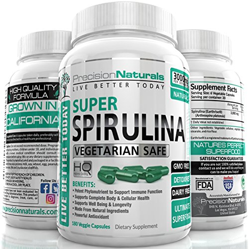 Spirulina 180 Veggie Capsules/Pills - 3000mg/Serving - 500mg/tablet Best Complete Green Algae Protein Grown In California (Earthrise) Not Hawaiian Pacifica
