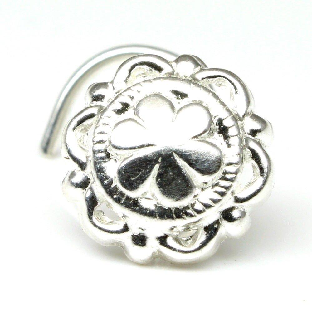 Silver Nose Stud Spiral corkscrew piercing nose ring curved bar 22g