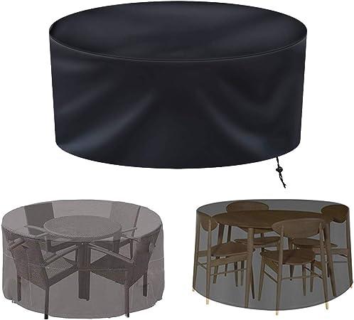 SJMDZZ Conjunto Muebles de Jardín 210D Oxford Tela Funda Completa Impermeable/a Prueba de Viento/a Prueba de Polvo/Anti UV/a Prueba de Lluvia Funda Protectora Muebles Jardin Redondo/Circular: Amazon.es: Hogar