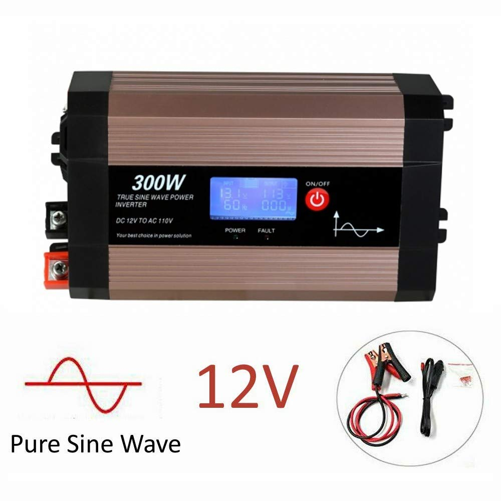 300W Pure Sine Wave Power Inverter with LCD Screen, 12V DC to 110V AC GISIAN Car Inverter with Dual USB Ports Car Charging Adapter by GISIAN