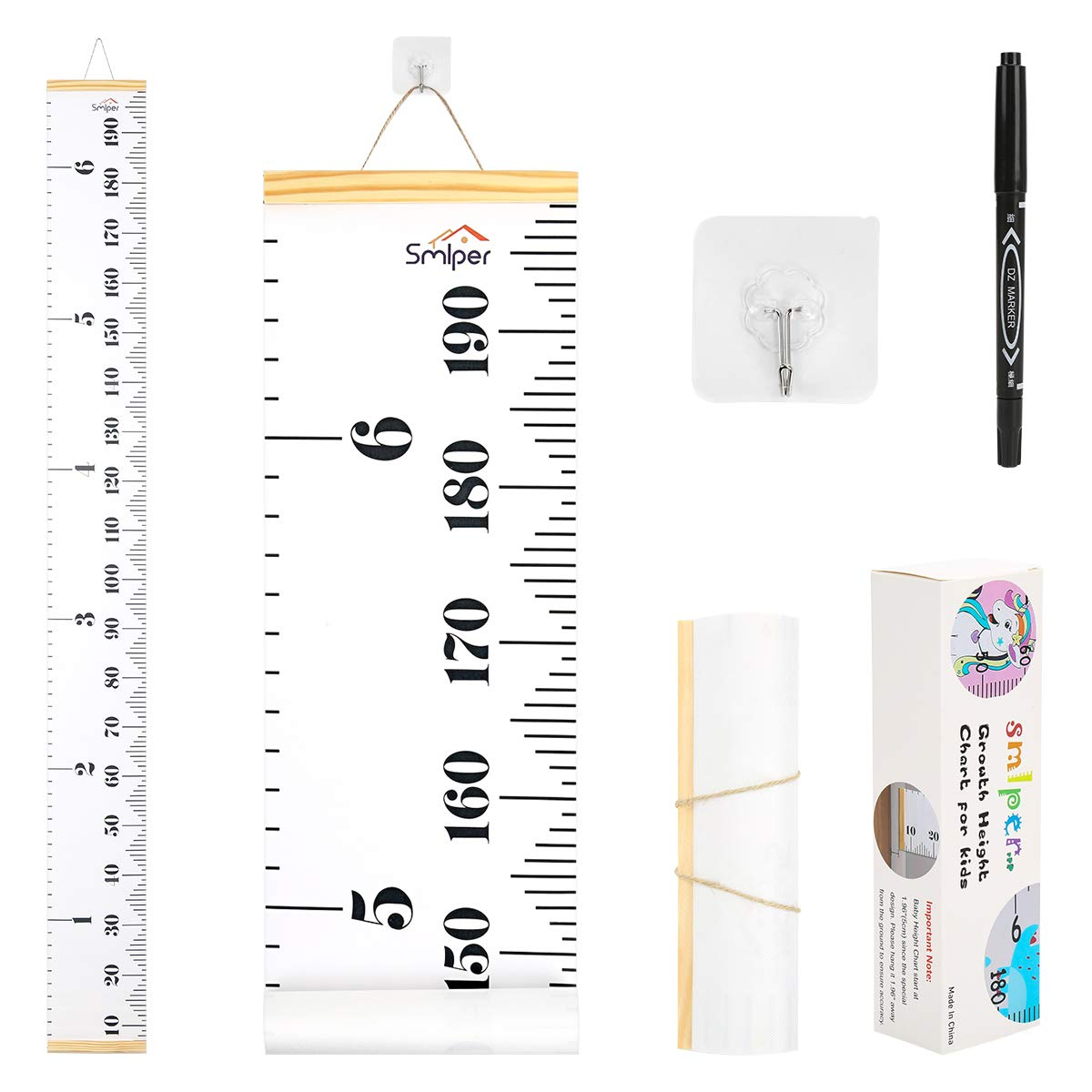 """Smlper Growth Chart for Kids,Roll-up Height Chart for Boys Girls,Wood Frame Fabric Canvas Height Measurement Ruler for Kids Nursery Room,Removable Wall Decor 79""""x7.9"""""""