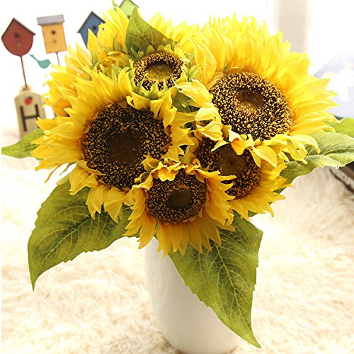 Decor Flowers Silk (Bringsine Sunflowers Artificial Flowers Bouquet For Home Decoration Wedding Decor Real Touch Silk Flowers Bride Holding Flowers Floral Decors)