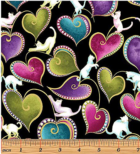 Novelty Quilting, Sewing Fabric - Cat-I-Tude - Floating Cats & Beaded Hearts - Multi-Colors - Black