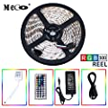 LED Strip light kit, Flexible LED Strip Waterproof Full Color Changing Strip Light 5Meter 16.4ft/Reel 300X RGB SMD5050 Lamps with 44 Key IR Remote and 12V 5A 60W Power Supply