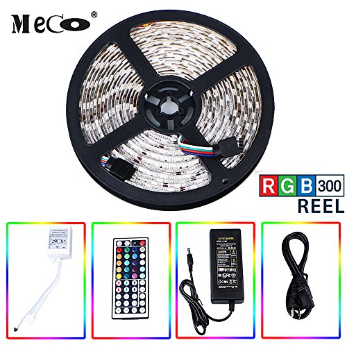 LED Strip light kit, MECO Flexible LED Strip Waterproof Full Color Changing Strip Light 5Meter 16.4ft / Reel 300X RGB SMD5050 Lamps with 44 Key IR Remote and 12V 5A - Light Kit Customizable