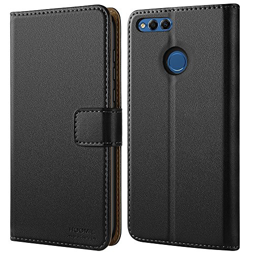 HOOMIL Case Compatible with Honor 7X, Premium Leather Flip Wallet Phone Case for Huawei Honor 7X/Huawei Mate SE Cover (Black)