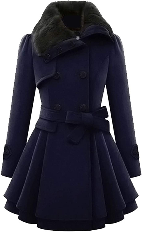 sensitives Winter Warm Gothic Casual Women Overcoats A Line Lapel Plain Belt Button Girls Fashion Coats