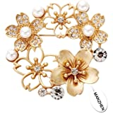 MANZHEN Beautiful Gold Faux Pearl Rhinestone Crystal Blossom Five Flowers Brooches Pins Women Jewelry