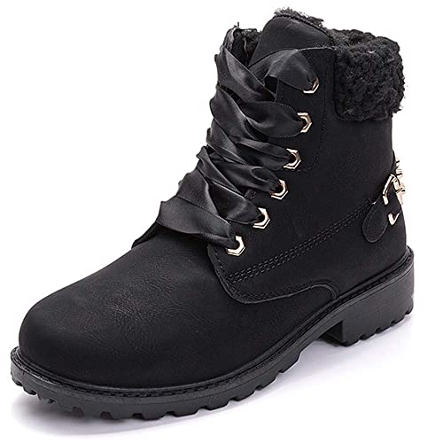 53b44b14975 Susanny Women's Warm Snow Boots Ankle Lace up Short Combat Boot Slip on  Winter Low Heel Fur Booties