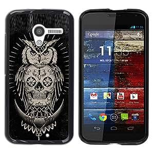 Shell-Star Arte & diseño plástico duro Fundas Cover Cubre Hard Case Cover para MOTO X / XT1058 / XT1053 / XT1052 / XT1056 / XT1060 / XT1055 ( Skull Owl Native American Black )