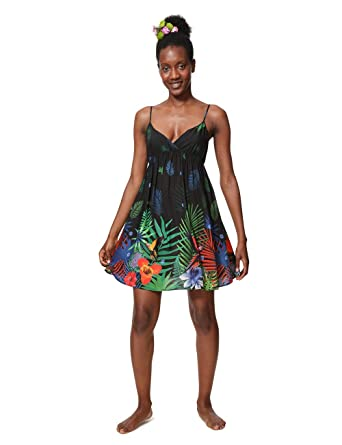 Desigual Dress Robe Sia Swimwear Black Woman Femme SzVMpU