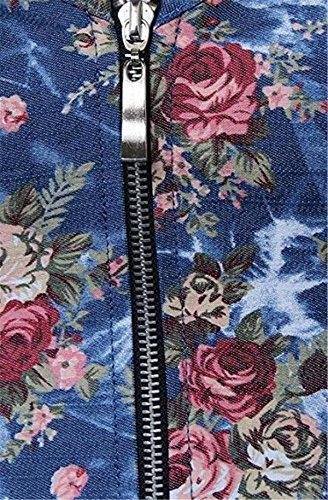 Kranchungel Women's Gothic Vintage Floral Denim Corset Zip up Bustier Top Corsetto Bustino Azul