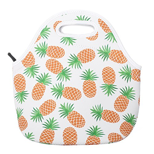 Pineapple Neoprene Lunch Bag Insulated Lunch Box Tote for Women Men Adult Kids Teens Boys Teenage Girls Toddlers (White)
