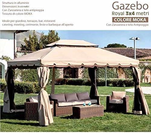 Bakaji - Cenador de jardín de 3 x 4 m, estructura de aluminio con cubierta de tela de 400 g/m² con recubrimiento anti-UV. Anti-lluvia, incluye 4 mosquiteras y 4 cortinas laterales.: Amazon.es: Jardín