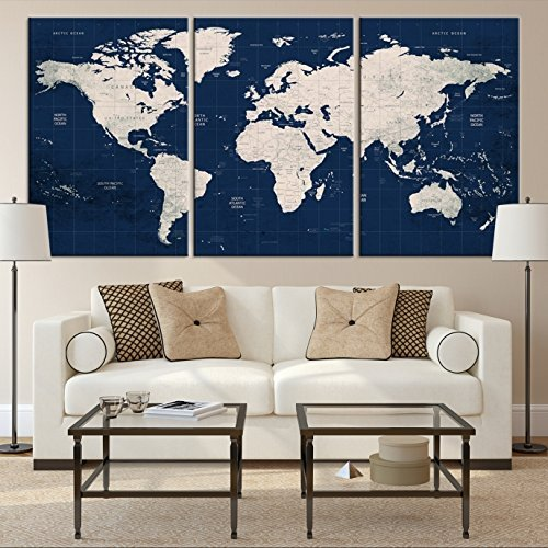 Navy Blue World Map Large Canvas Print for Home Decoration and Living Room Decor, Extra Large World Map Push Pin Canvas Print for Office Interior and Decor - Ready to Hang by SamiEymur