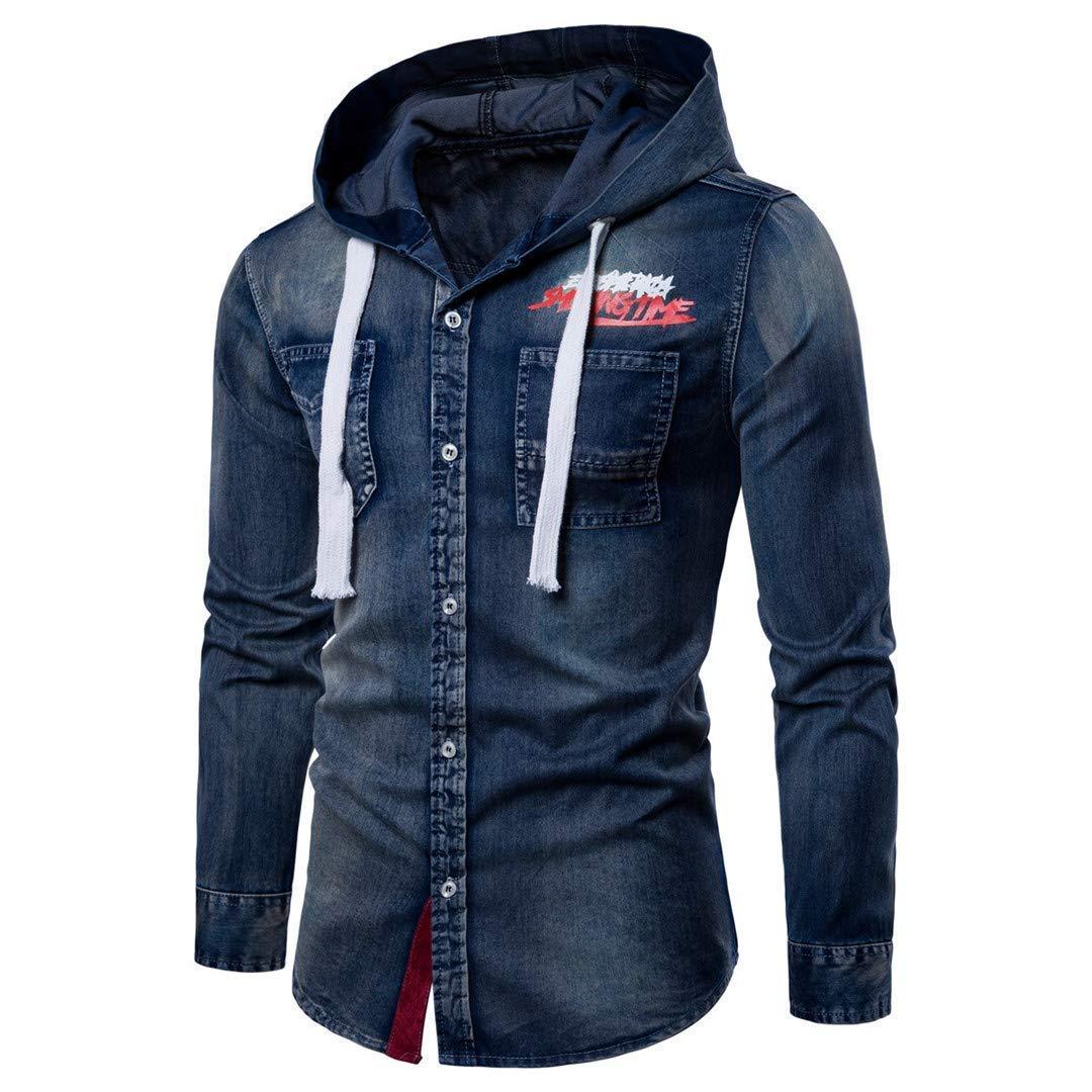Wu5dra Fashion Mens Hooded Denim Shirts Casual Men Straight Printing Shirts for Male Spring Style M-3XL Color : Light Blue, Size : Medium