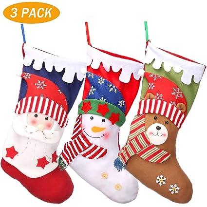 YQing 3PC Calcetin Navidad Año Nuevo Medias Decoración, 18 Calcetines Navideños Christmas Stockings