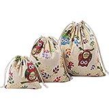 Gespout borsa con cordoncini in cotone per bambini, disegno a gufi, confezione da 3