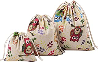 iTemer 3 Size Outskirts Travel Essential Drawstring Bag Cotton/Linen Casual Cute Patterns Storage Pockets Shoes Pouch Clothes Makeup Pouch