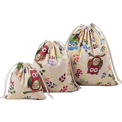 Bolsas De Algodón Con Cuerdas Gespout Con Bonitos Dibujos De Búhos