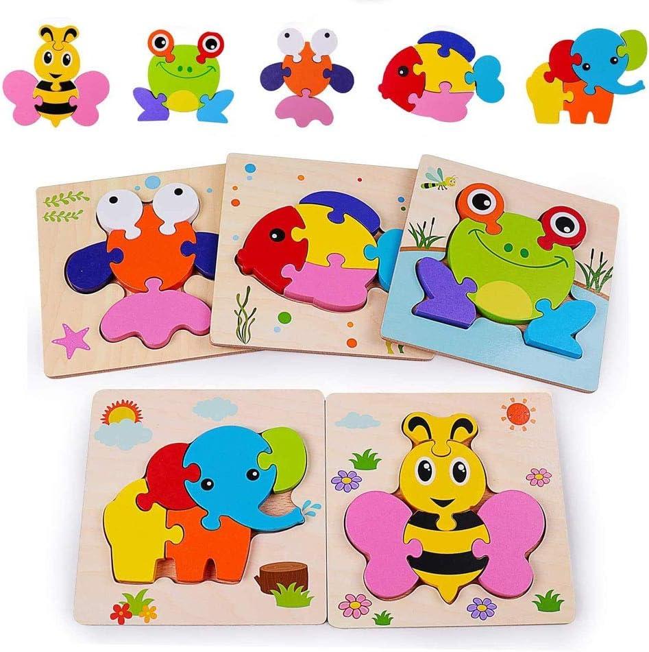 Sinwind Puzzles de Madera Educativos para Bebé, De Madera Rompecabezas Set Montessori Juguete 1 -3 años, Habilidad motora Fina Juego de Regalo Educativo Preescolar de Aprendizaje temprano para niños