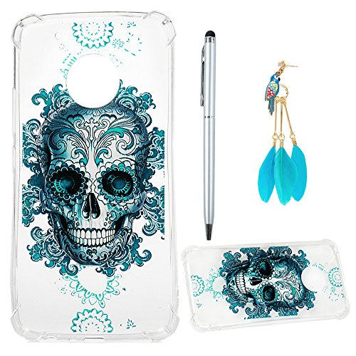 Price comparison product image Moto G5 Plus Case, Cushioned 4 Reinforced Corners Full Body Protection Soft TPU Cover Transparent Enhanced Grip Protective Defender Shell Shock-Absorption Bumper with Dust Plug Stylus Pen, Skull