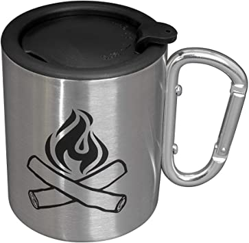 Portable Rockclimbing Life Gear Stainless Steel Double Walled Mug with Carabiner Handle Renewed Hiking Backpacking or Camping Travel Cup 10 oz