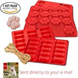 Laminas Food Grade Silicone Puppy Dog Paw and Bone Silicone Mold, Ice Cube Mold, Chocolate Mold, Candy Mold, Cupcake Baking mold, Soap Mold, Muffin pan, 2 Pack Set (Puppy) - Plus Free Recipe eBook
