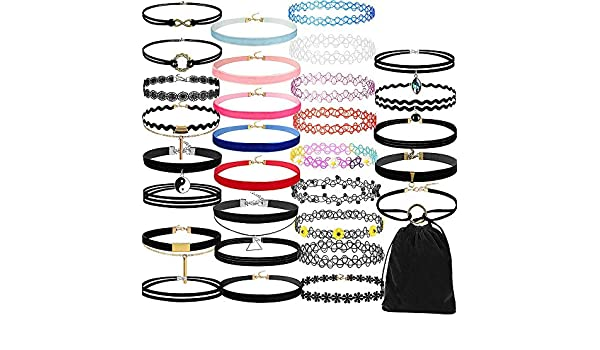 Amazon.com: 30Pieces Choker Necklace Set Stretch Velvet Classic Gothic Tattoo Lace Choker: Clothing