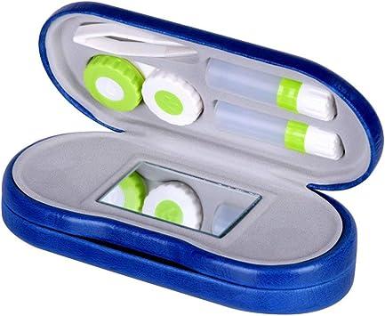 Rosenice - Estuche 2 en 1 para lentillas y gafas, doble uso, portátil, de viaje, color azul: Amazon.es: Salud y cuidado personal