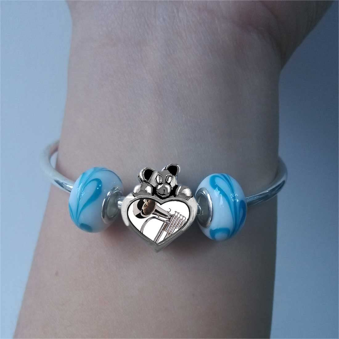 GiftJewelryShop Silver Tone Trumpet Sapphire Crystal September Birthstone I Love You Heart Care Bear Charm Bracelets