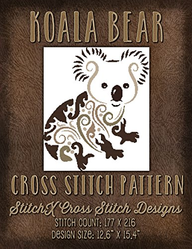 Koala Bear Cross Stitch Pattern - Modern Cross Stitch Design - Animal Cross Stitch Pattern - Cross Stitch Chart-pack Bear Cross Stitch Pattern