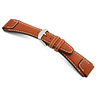 36168f91d 18mm RIOS1931 Cognac Nature - Genuine Buffalo Leather Watch Band with White  Stitching 114x82