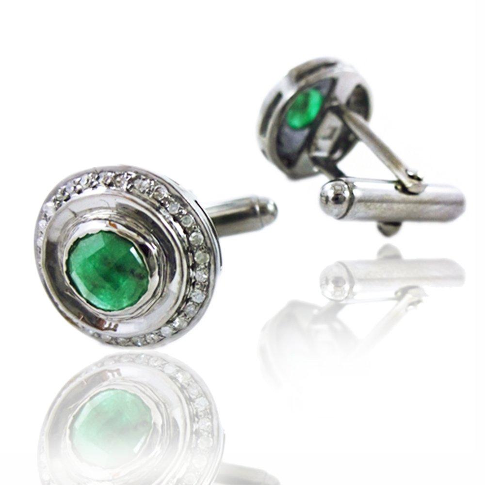 Emerald Gemstone Cufflinks 925 Silver Pave Diamond Men's Jewelry
