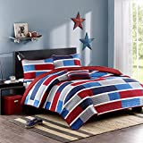 Mi-Zone Bradley Twin/Twin Xl Size Teen Boys Quilt Bedding Set - Navy, Burgundy, Color Block – 3 Piece Boys Bedding Quilt Coverlets – Ultra Soft Microfiber Bed Quilts Quilted Coverlet