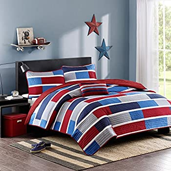durable modeling 4 Piece Boys Blue Madras Plaid Quilt Full Set, Stylish Navy Glen Checkered Patchwork Microfiber Bedding, Kids Baseball Sports Themed, Check Tartan Pattern, Red White Teal Aqua