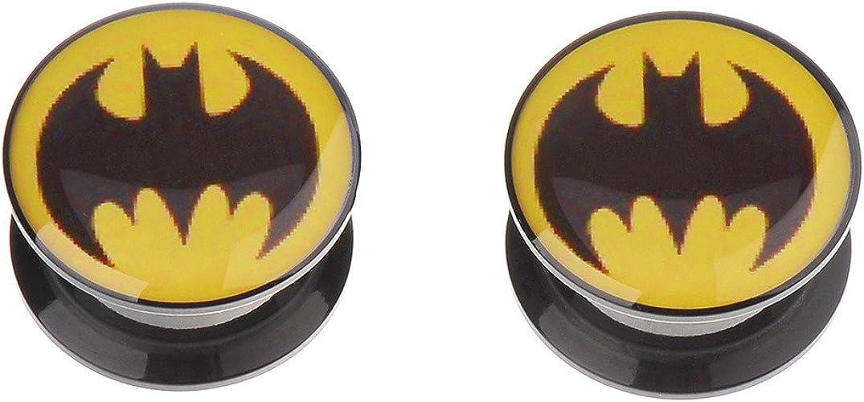 Pair of Batman Stretch Ear Plugs Expander Wood Earrings Gauges Tunnel