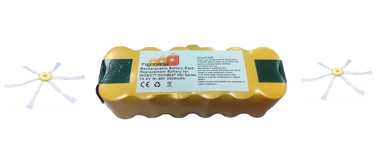 Tiendade 3500 mah compatible +2 cepillos aspirador Roomba 500, 600, 700, 800: Amazon.es: Electrónica