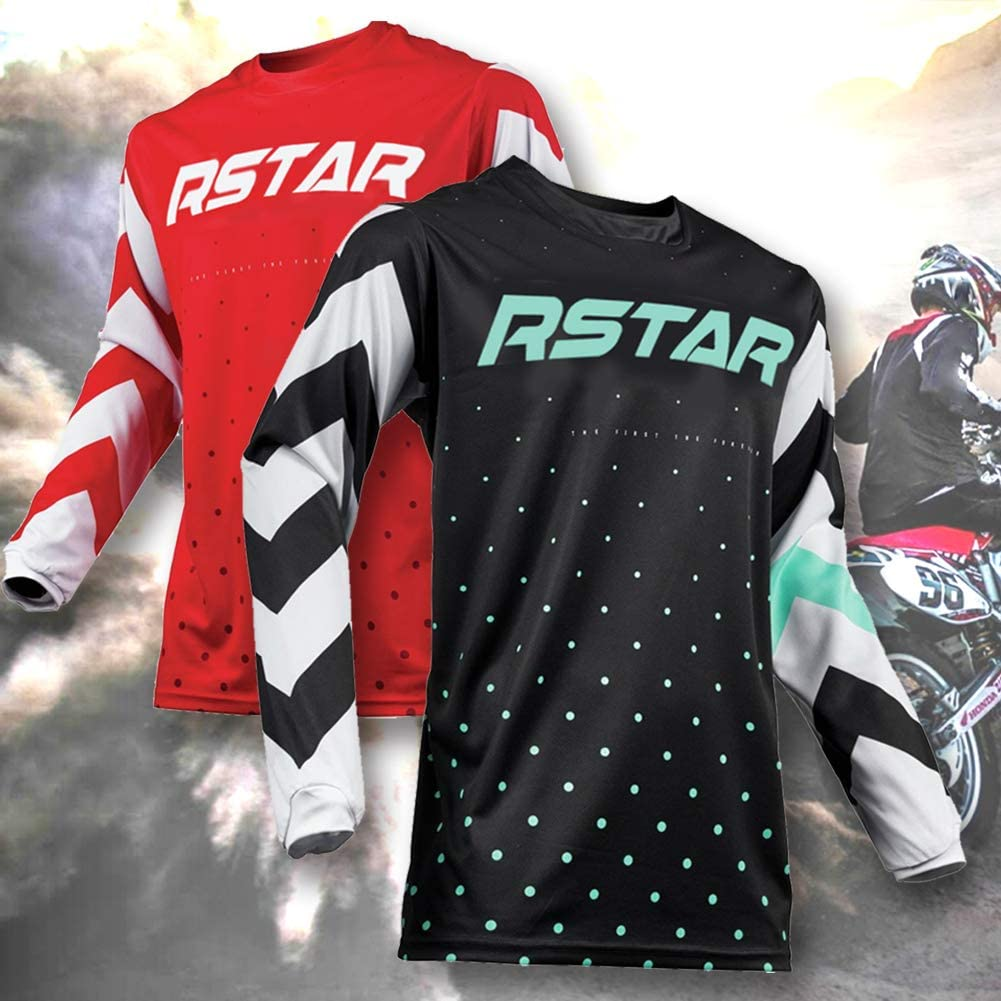 R Star Mens Cycling Jersey Suit Short Sleeve Bicycle Compression Jersey Quick Dry Shirt with 3 Rear Pockets Tight Pant Cycling Suit for Men