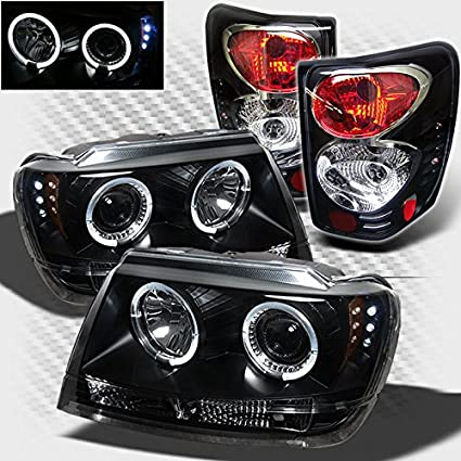 Xtune For 1999 2004 Jeep Grand Cherokee Black Halo LED Projector Headlights  + Tail Lights